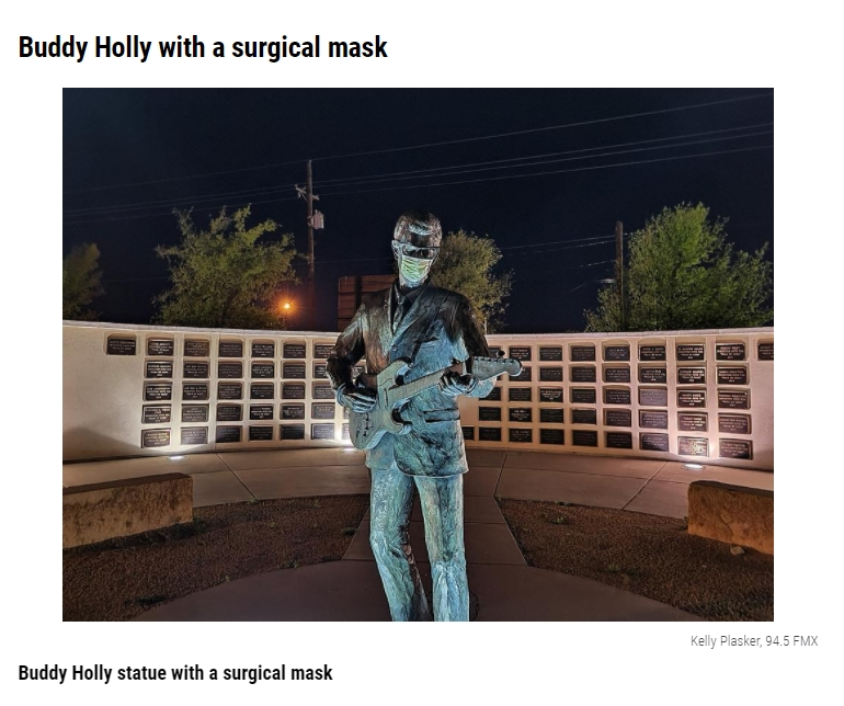 Buddy Holly with a surgical mask