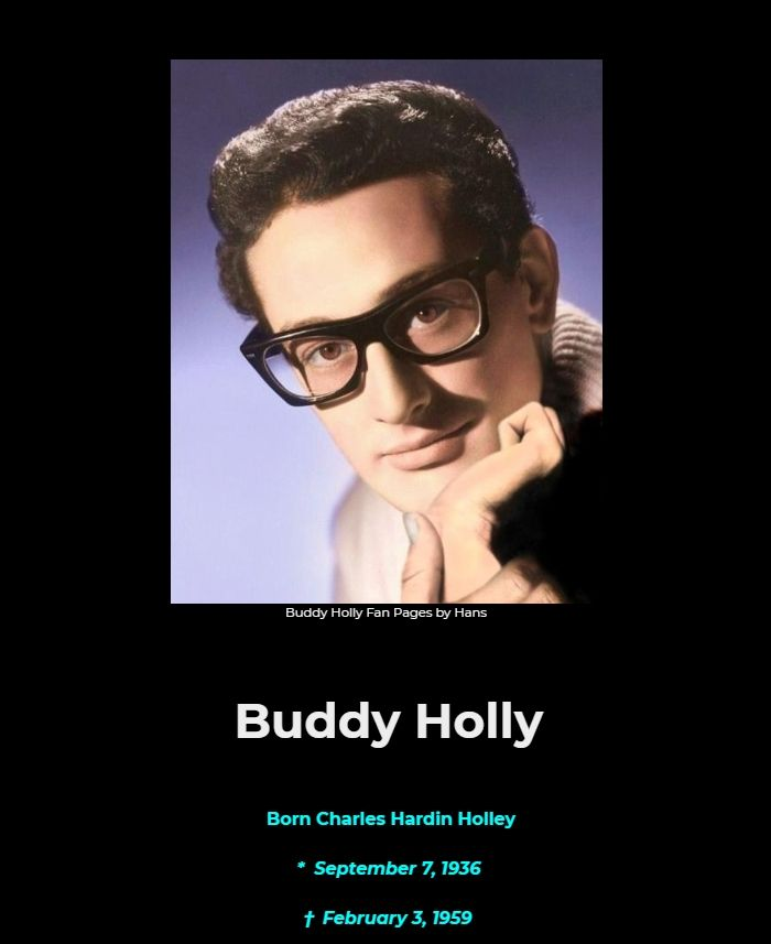 BUDDY HOLLY LIVES - THE BUDDY HOLLY FAN PAGES BY HANS