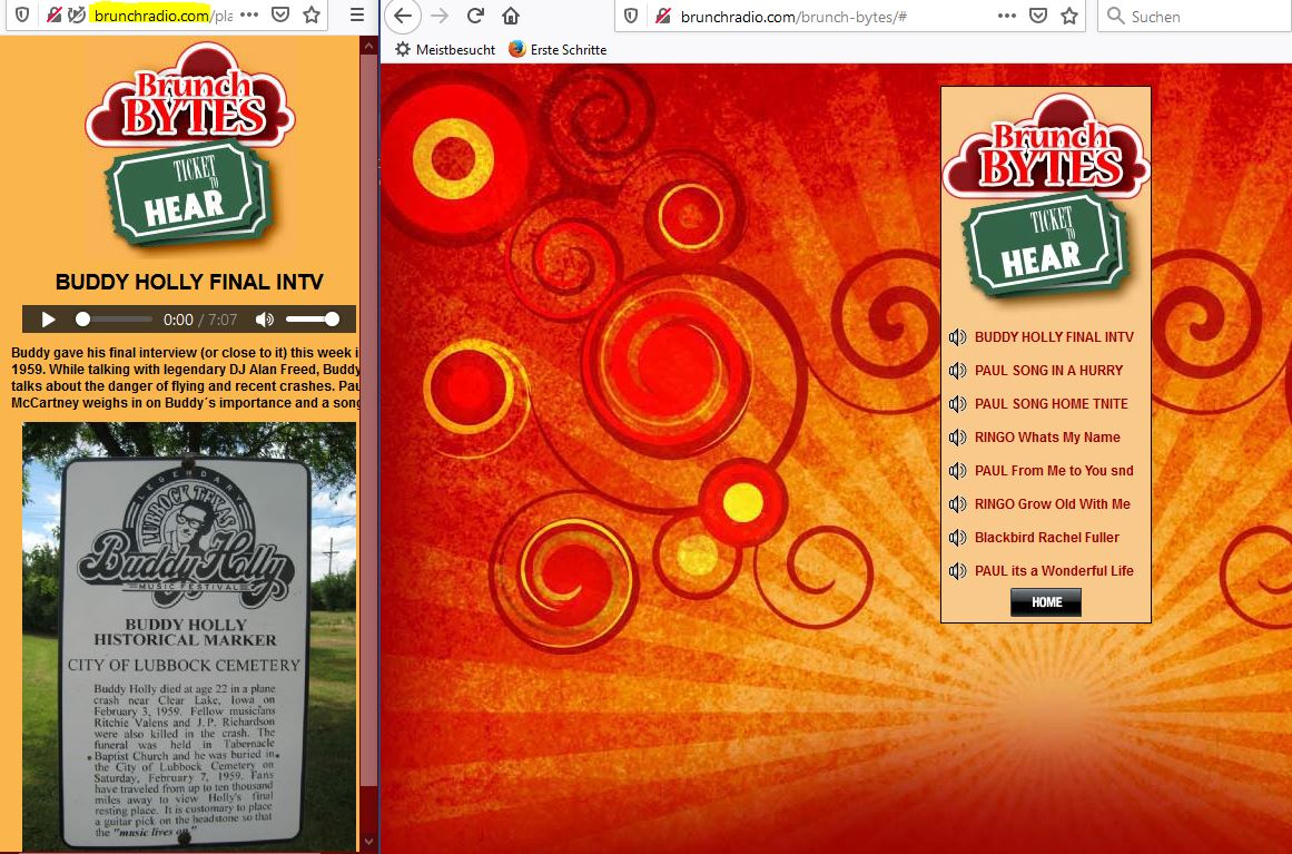 Brunch Radio Start Page for the Buddy Holly Audio