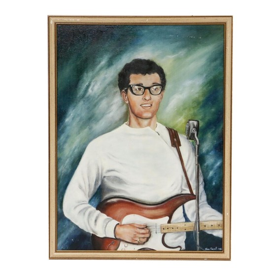 Joan Maxwell Portrait Of Buddy Holly - Oil Painting 1986 - Seen On Lot - Art