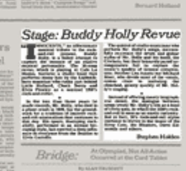 Article about the Buddy Holly Revue 1984