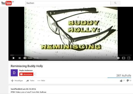 BUDDY HOLLY - REMINISCING VIDEO ON YOUTUBE