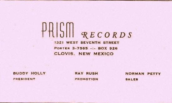 PRISM RECORDS BUSINESS CARD