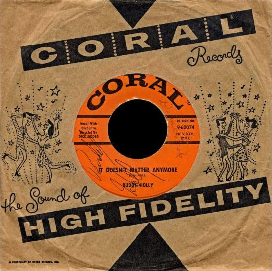 CORAL 9-6024 in it's sleeve. Record signed by Buddy Holly
