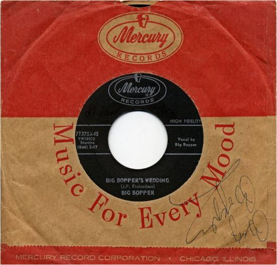 MERCURY 71375 in it's sleeve. Sleeve signed by Big Bopper