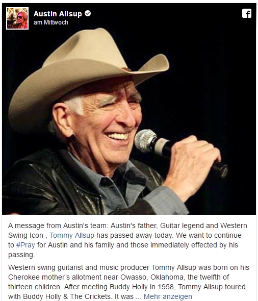 TOMMY ALLSUP PASSED AWAY