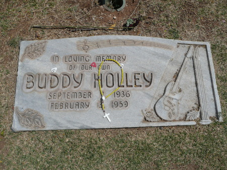 Buddy Holly's grave in the April sun