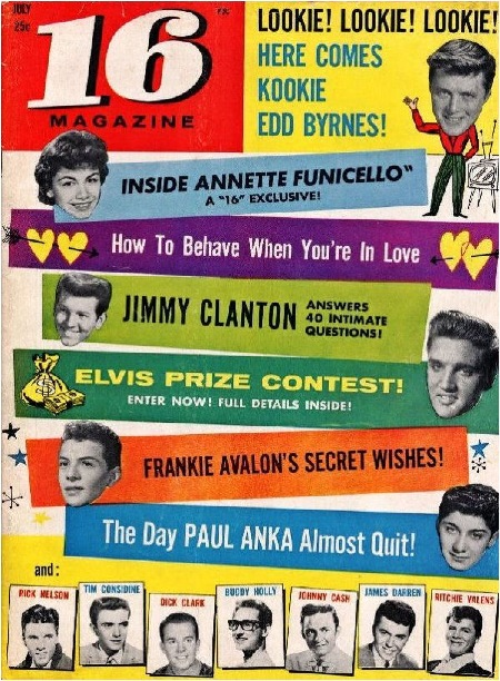 July 1959 '16' US magazine, featuring Buddy, Ritchie & The Big Bopper