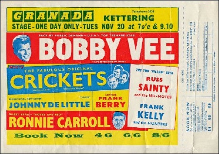 GRANADA KETTERING FLYER from the BOBBY VEE MEETS THE CRICKETS UK TOUR