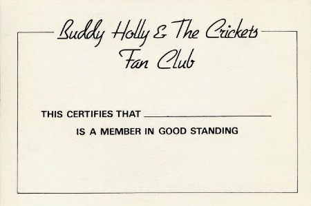 Member Card BUDDY HOLLY & THE CRICKETS FAN CLUB