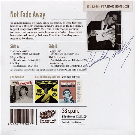 El Toro Records ET-15.036 Buddy Holly - Not Fade Away (6 track 33rpm vinyl EP)